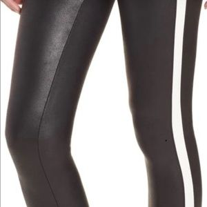 Spanx faux leather leggings with white stripe